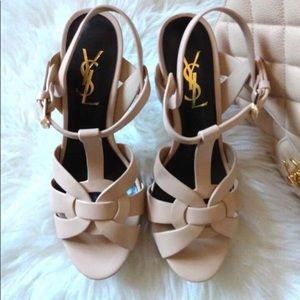 Saint Laurent Beige Leather High Heels